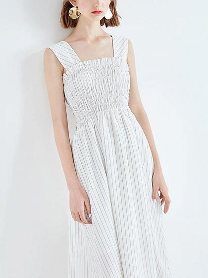 Stripe Frill Detail Sleeveless Midi Dress
