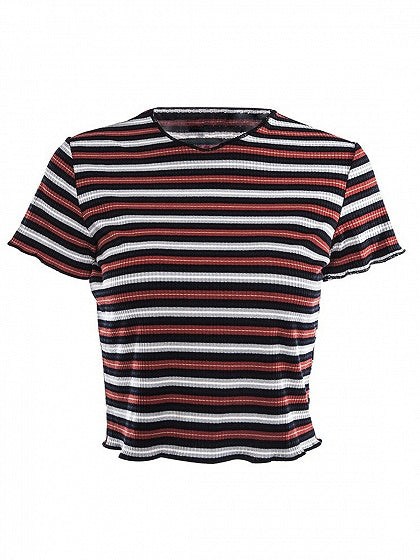 Red Contrast Stripe Crew Neck T-shirt