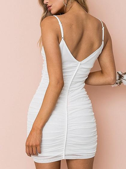 Spaghetti Strap V-neck Ruched Detail Bodycon Mini Dress