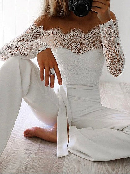 White Off Shoulder Tie Waist Long Sleeve Lace Romper Jumpsuit