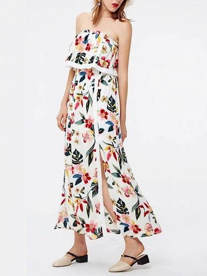 Off Shoulder Floral Print Lace Panel Maxi Dress