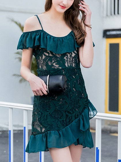 Spaghetti Strap Ruffle Trim Lace Mini Dress
