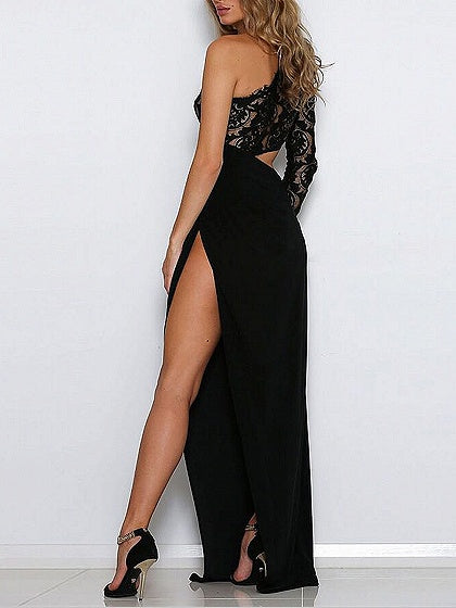 Asymmetric Lace Panel Thigh Split Side Maxi Dress