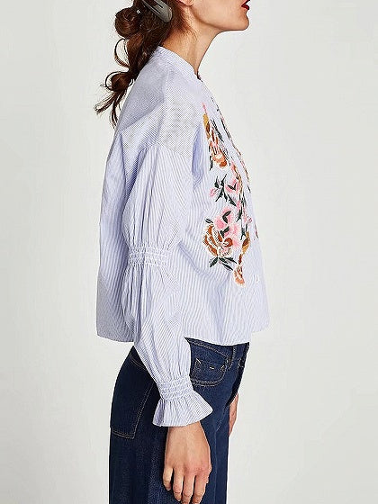 Light Blue Stripe Embroidery Detail Puff Sleeve Shirt