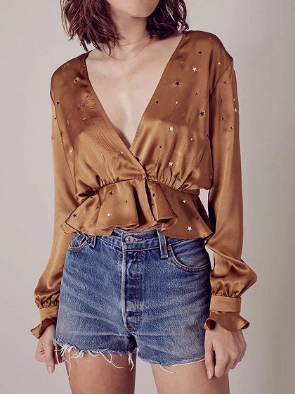 Plunge Star Sequin Detail Frill Trim Long Sleeve Blouse