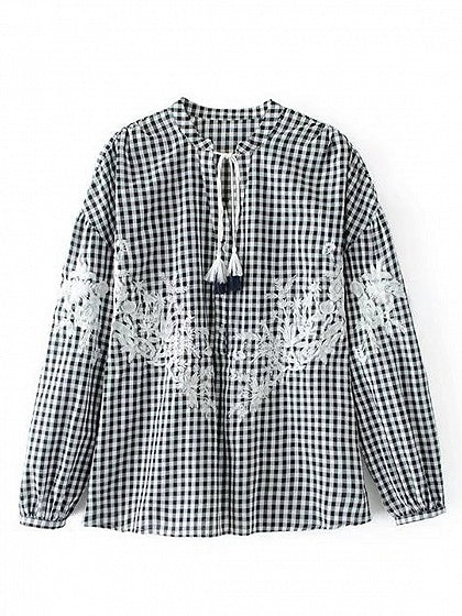 Black Plaid Embroidery Detail Long Sleeve Blouse