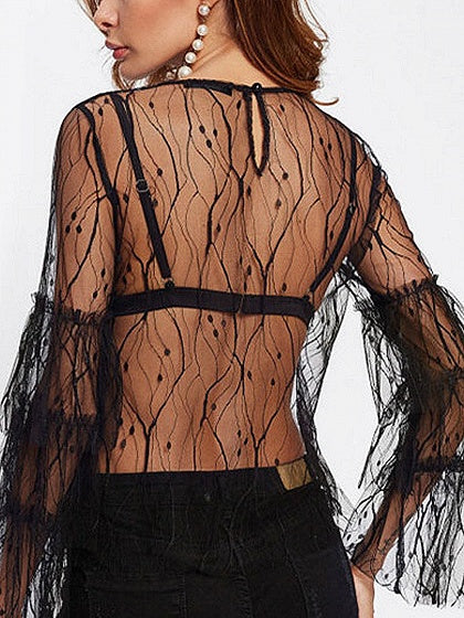 Black Embroidery Detail Flare Sleeve Sheer Blouse