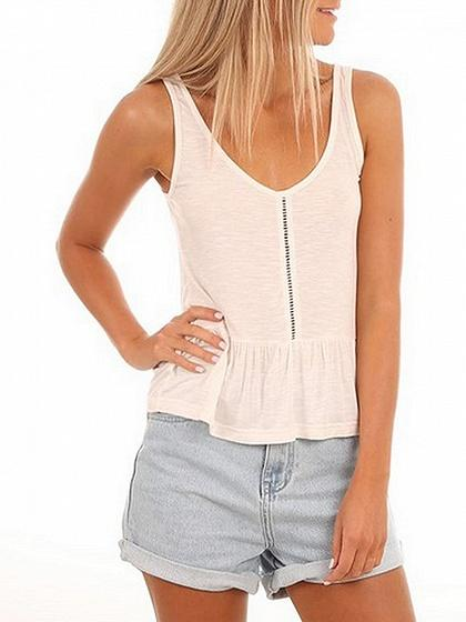 V-neck Cut Out Front Ruffle Hem Tank Top