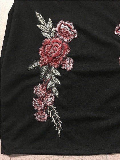 Black Off Shoulder Ruffle Trim Embroidery Mini Dress