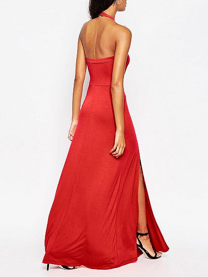 Red Halter Thigh Split Detail Open Back Maxi Dress
