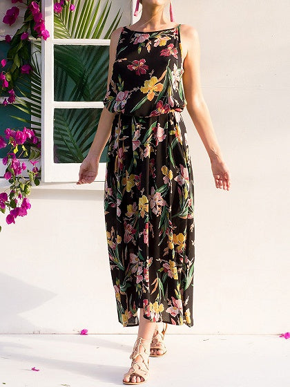 Black Floral Print Pocket Detail Sleeveless Maxi Dress
