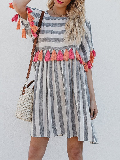 Gray Stripe Crew Neck Tassel Detail Dress