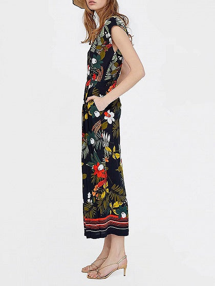 Black V-neck Floral Print Ruched Detail Romper Jumpsuit
