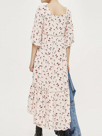 Pink V-neck Floral Print Drawstring Detail Ruffle Hem Maxi Dress