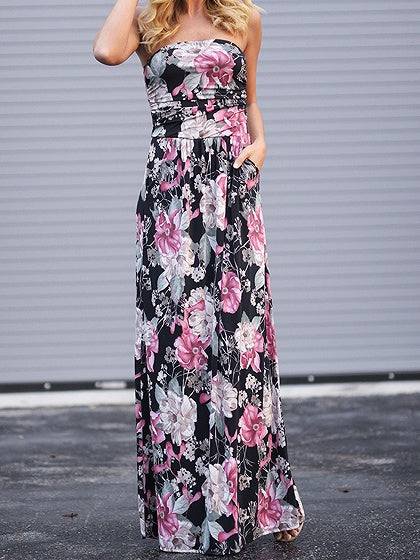 Black Bandeau Floral Print Pocket Detail Maxi Dress