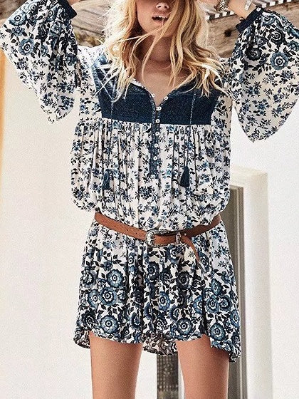 Plunge Floral Print Tie Front Long Sleeve Mini Dress