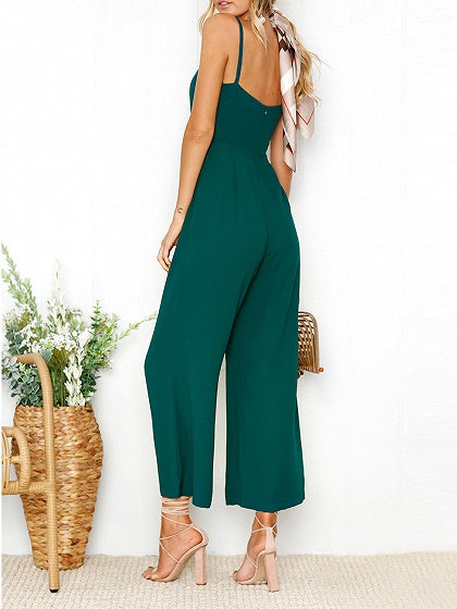 Green Spaghetti Strap Open Back Romper Jumpsuit