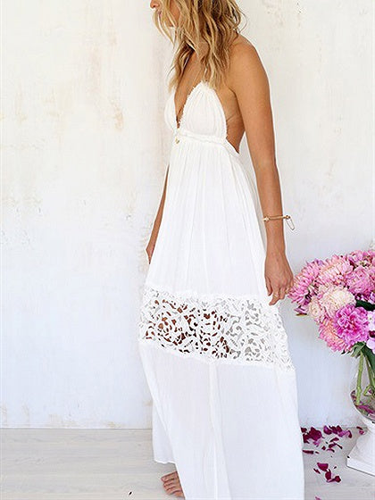 f3e442de34a White Halter Plunge Lace Panel Open Back Maxi Dress – MYNYstyle