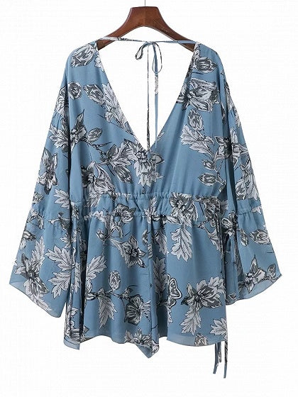 Light Blue Plunge Floral Print Drawstring Detail Romper Playsuit