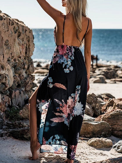 Black Spaghetti Strap Plunge Floral Print Open Back Maxi Dress