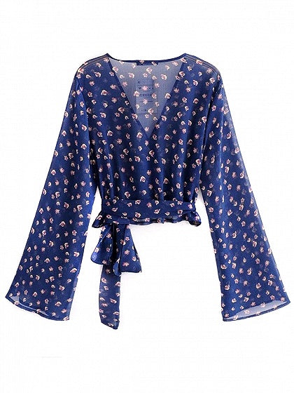 Blue Floral V-neck Tie Waist Long Sleeve Cropped Blouse