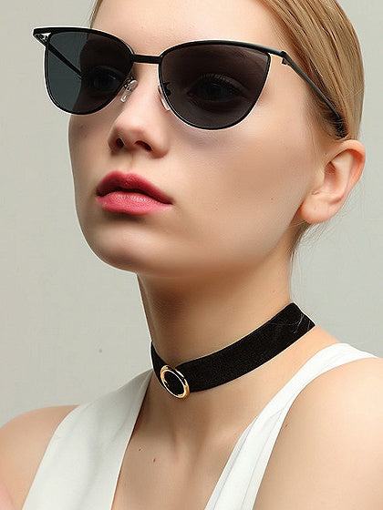 Lens Metal Frame Cat Eye  Sunglasses