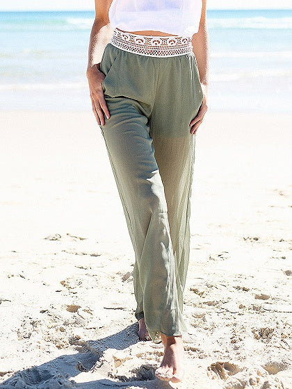 Army Green High Waist Cut Out Detail Lace Wide Leg Pants