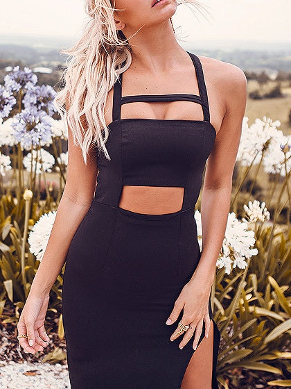 Black Cut Out Detail Thigh Split Side Open Back Maxi Dress