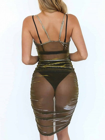 Army Green Spaghetti Strap Sheer Mesh Bodycon Mini Dress