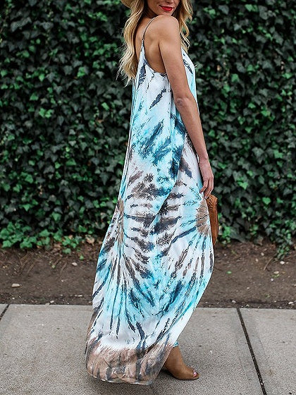 Blue Spaghetti Strap V-neck Floral Print Maxi Dress