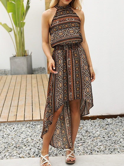 Halter Folk Print Open Back Hi-Lo Dress