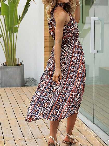 Orange Halter Folk Print Open Back Hi-Lo Dress