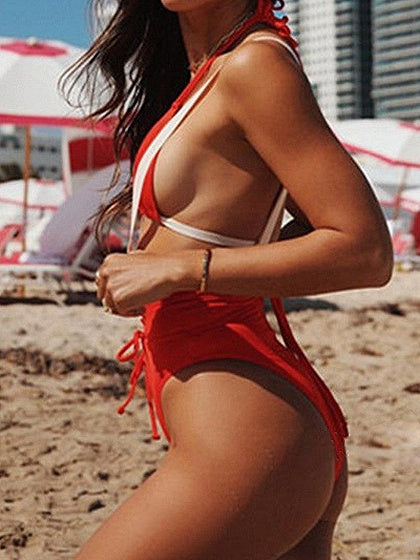 Red Halter Bikini Top And High Waist Eyelet Lace Up Front Bottom