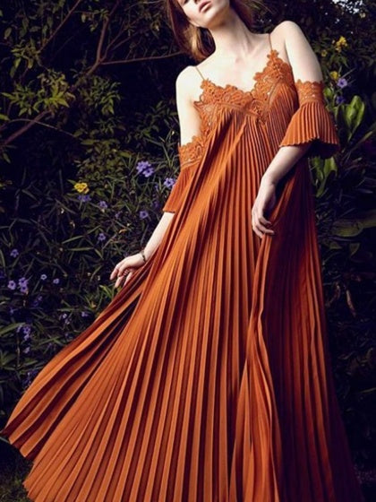 Orange Spaghetti Strap Cold Shoulder Pleated Maxi Dress