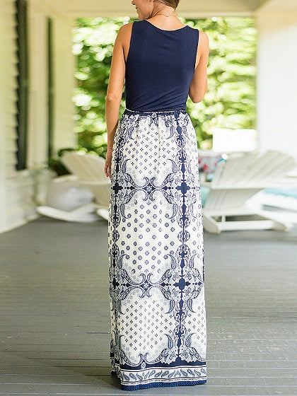Blue V-neck Folk Print Sleeveless Maxi Dress