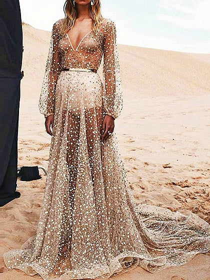 Gold Plunge Sequin Detail Open Back Long Sleeve Sheer Maxi Dress