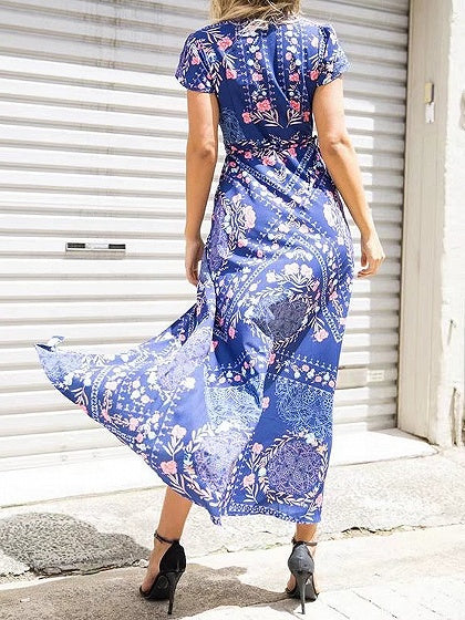 Navy Blue Plunge Floral Print Thigh Split Front Maxi Dress