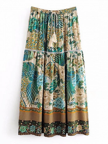 Green High Waist Peacock Print Thigh Split Side Midi Skirt