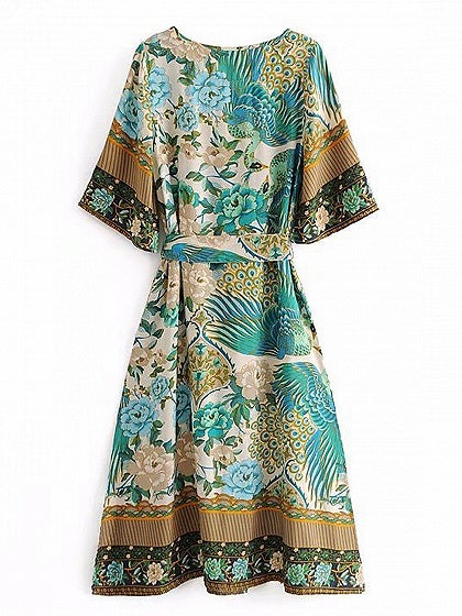 Green V-neck Peacock Print Tie Waist Split Detail Midi Dress