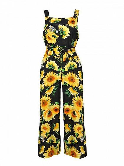 Pineapple Print Tie Waist Pocket Detail Romper Jumpsuit