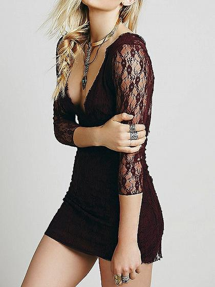 Plunge Embroidery V-back 3/4 Sleeve Bodycon Mini Dress