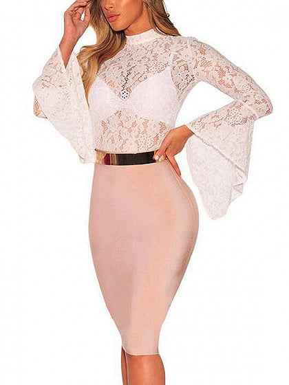 Cut Out Open Back Flare Sleeve Sheer Lace Bodysuit