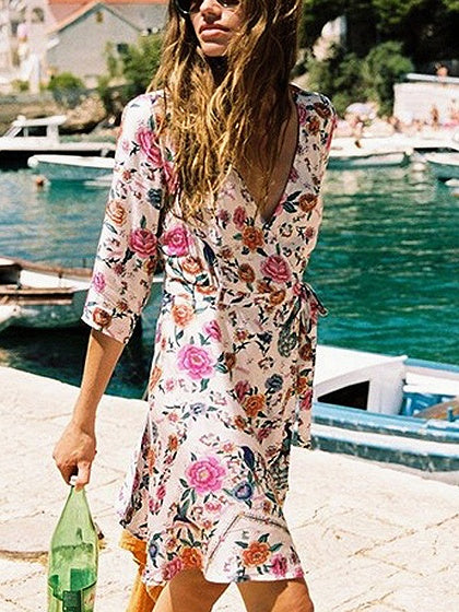 Polychrome V-neck Floral Print Tie Waist Mini Dress