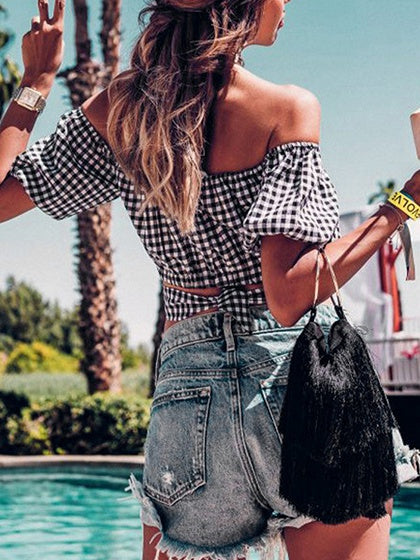 Black Plaid Off Shoulder Tie Back Puff Sleeve Crop T-shirt