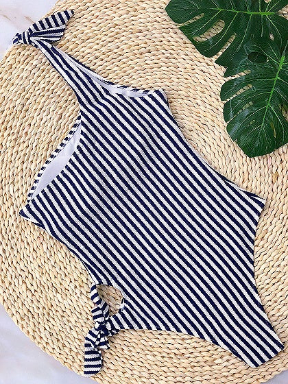 Black Stripe One Shoulder Tie Detail Swimsuit