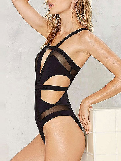 Lace Panel Cut Out Detail Open Back Swimsuit