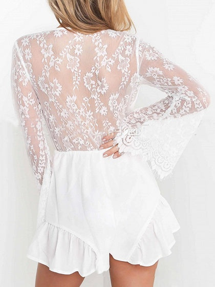 5003df66ead8 White Plunge Lace Panel Ruffle Trim Flare Sleeve Romper Playsuit ...