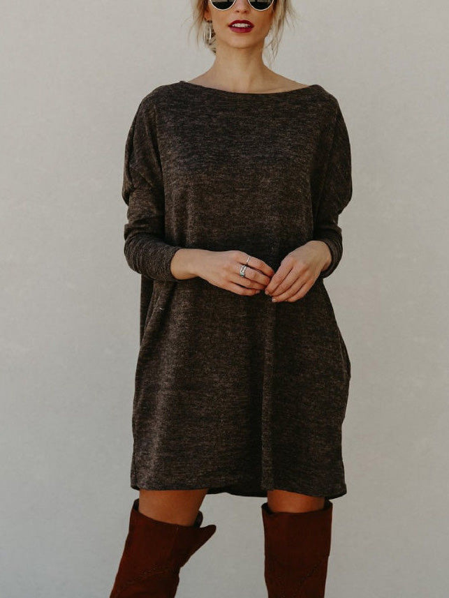 Brown Long Sleeve Knitted Mini Dress