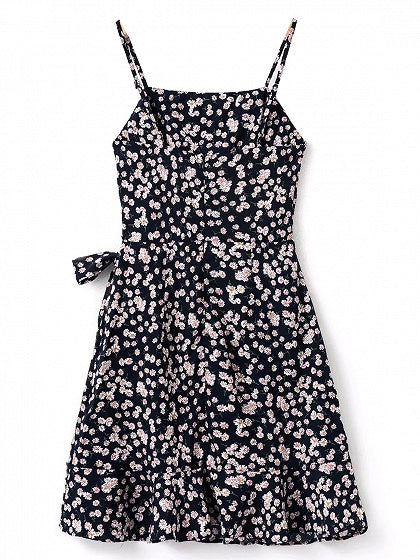 Floral Print Tie Waist Ruffle Hem Cami Mini Dress