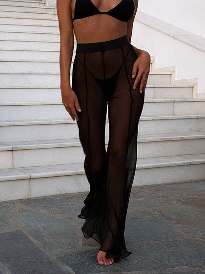 High Waist Sheer Mesh Flare Pants
